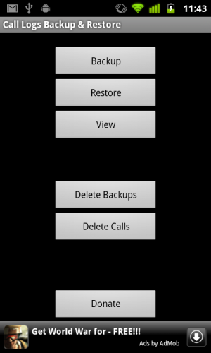 call log backup and restore
