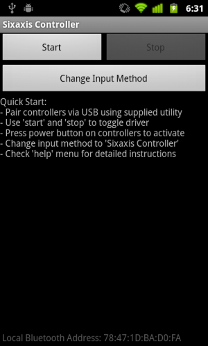 Sixaxis Controller Android app