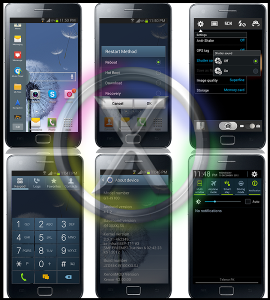 Update Galaxy S2 I9100 to Android 4.1.2 XenonMOD Jelly Bean Custom ROM