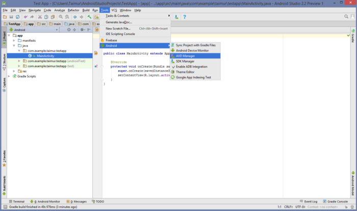 Setup Andriod Emulator-1