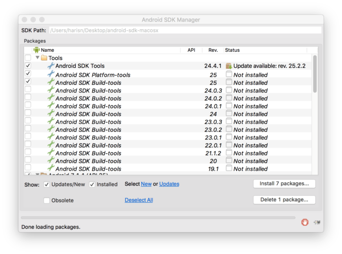 Android SDK Manager Mac