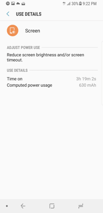 Samsung Battery Screen on Time