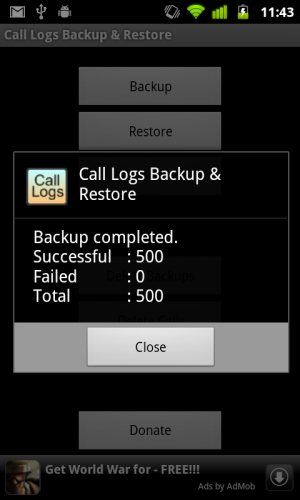backup call log in Android