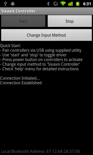 Sixaxis Controller Android start