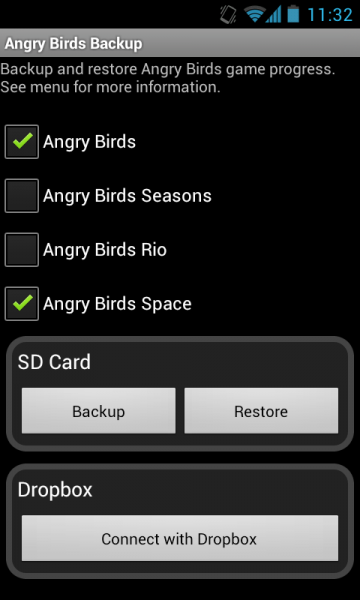 Backup Angry Birds