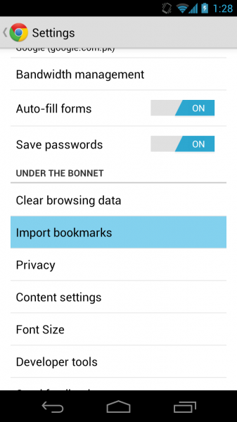 How to Import Bookmarks to Chrome for Android from Android