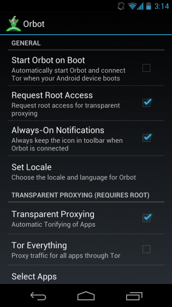 Fix Orbot (Tor) on Android 4.1 Jelly Bean Devices 12