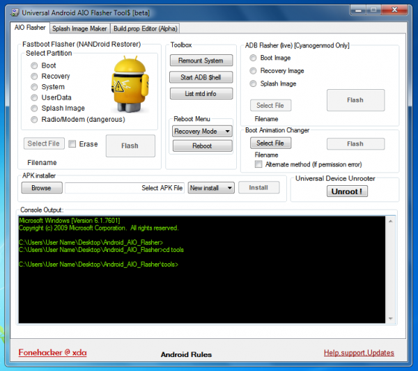 ADB, Fastboot, Unroot Android Devices, Install APK with All-In-One Universal Android Flasher 10