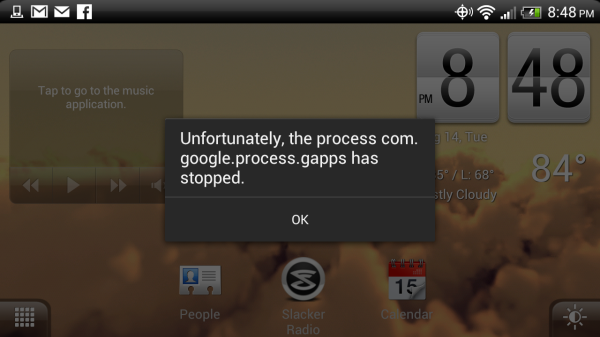 Unfortunately, the process com.google.process.gapps has stopped. Error Message