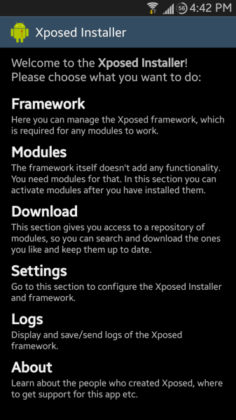 Xposed Installer Home Screen