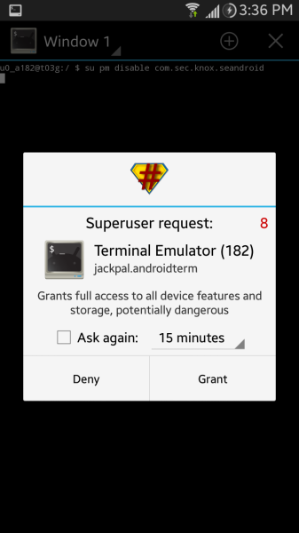 Superuser access prompt for terminal