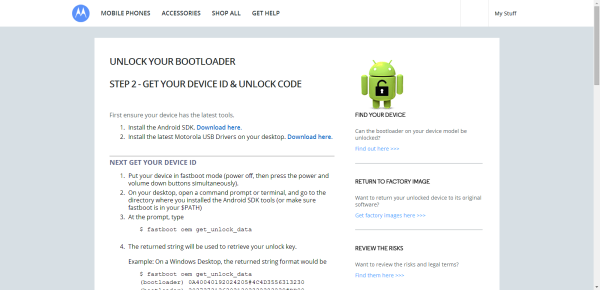 Motorola / Moto Phones - Unlock bootloader