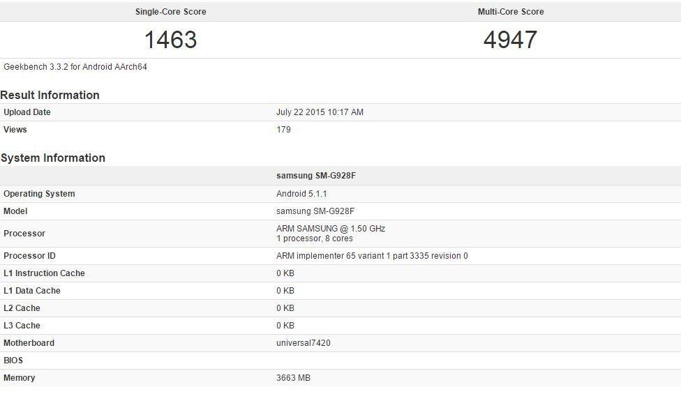 Geekbench-Galaxy S6 egde+