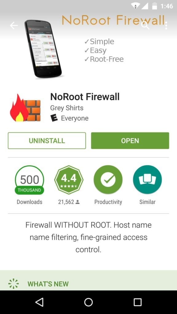 Block internet access to apps using NoRoot Firewall