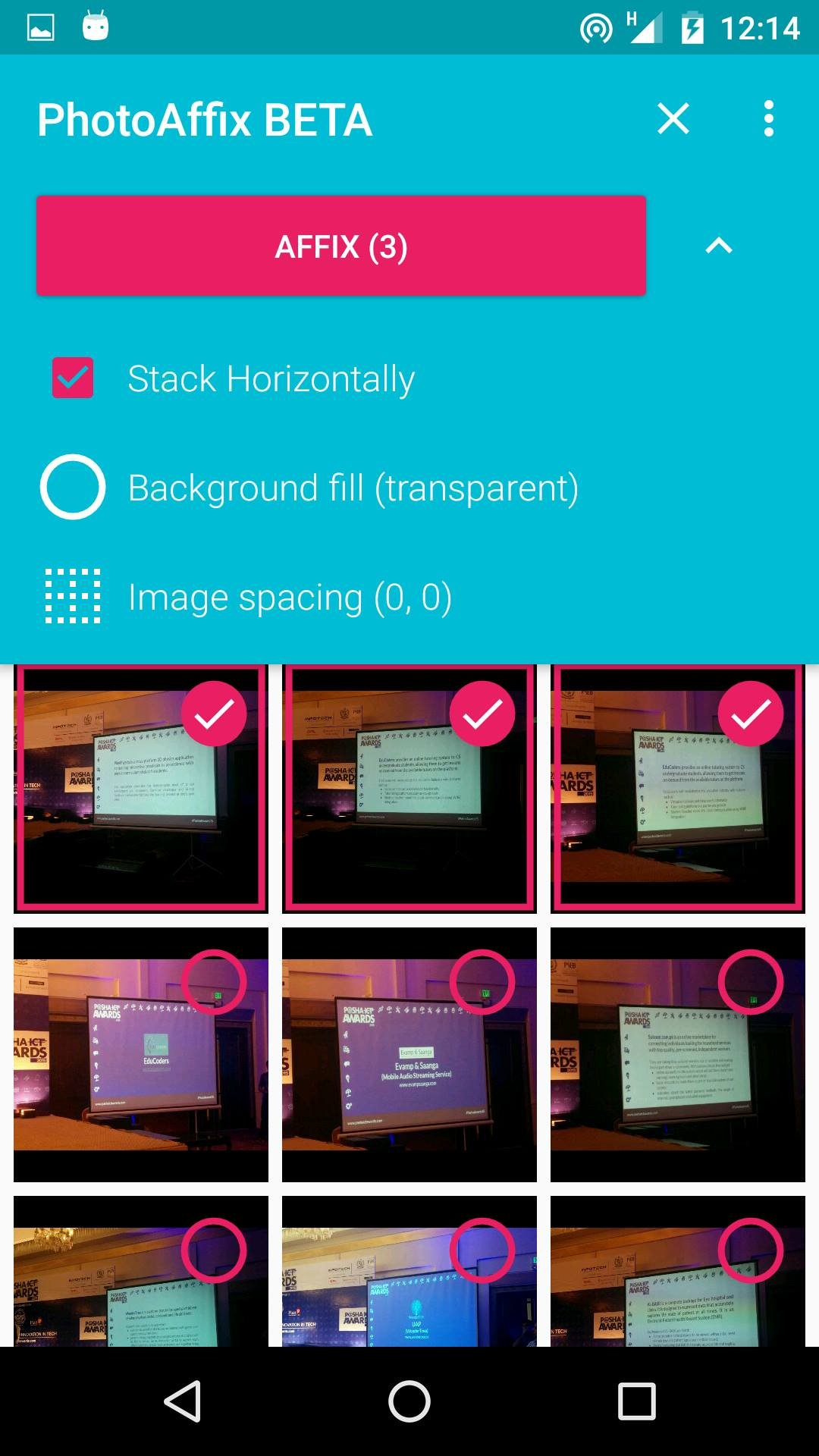 Stich your images using PhotoAffix for Android 12