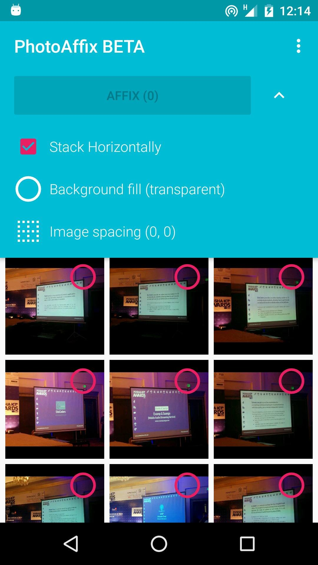 Stich your images using PhotoAffix for Android 13