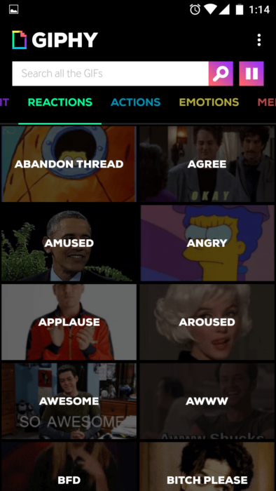 Share Gifs on your android phone using GIPHY. All the GIFS app 3