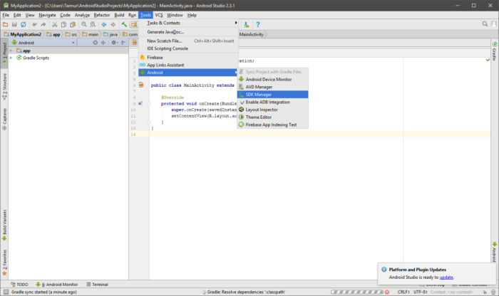 SDK Manager in Android Studio