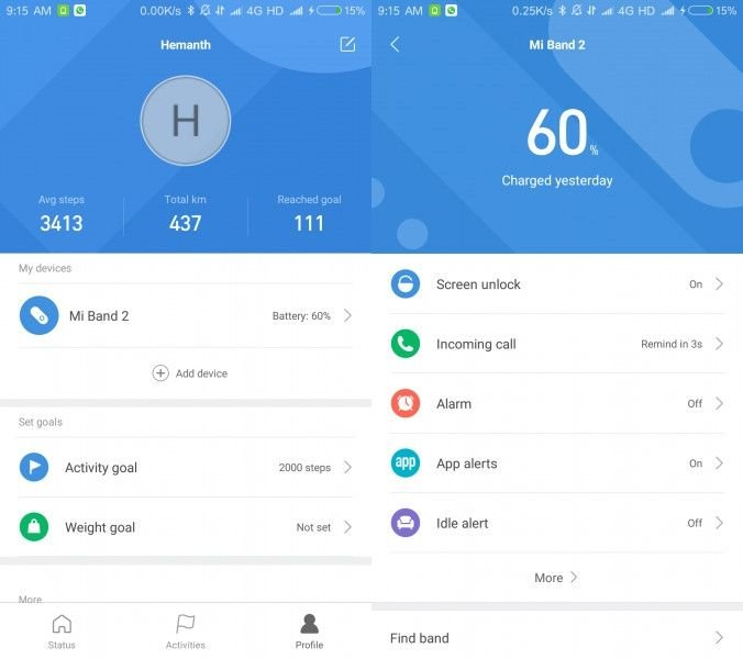 Mi Fit 3 paired devices