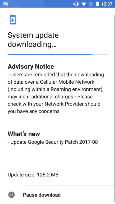 Nokia 5 August 2017 OTA Update