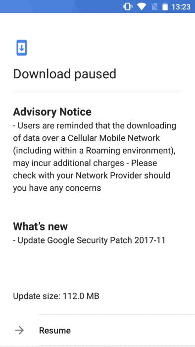 Nokia 5 November 2017 OTA Update