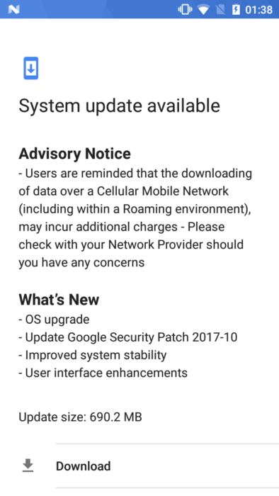 Nokia 5 Android 7.1.2 October 2017 OTA Update