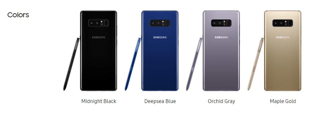 Galaxy Note 8 Color Variants