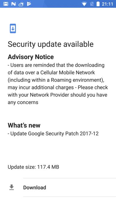 Nokia 6 December 2017 OTA Update
