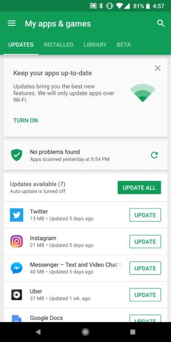 Google Play Store - Update Apps
