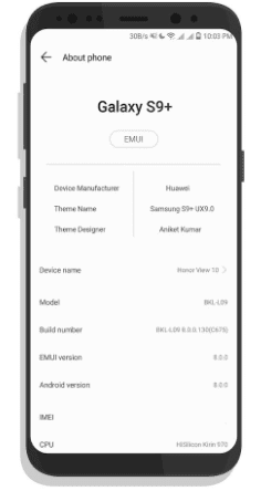Download Samsung Galaxy S9 Theme for EMUI Devices