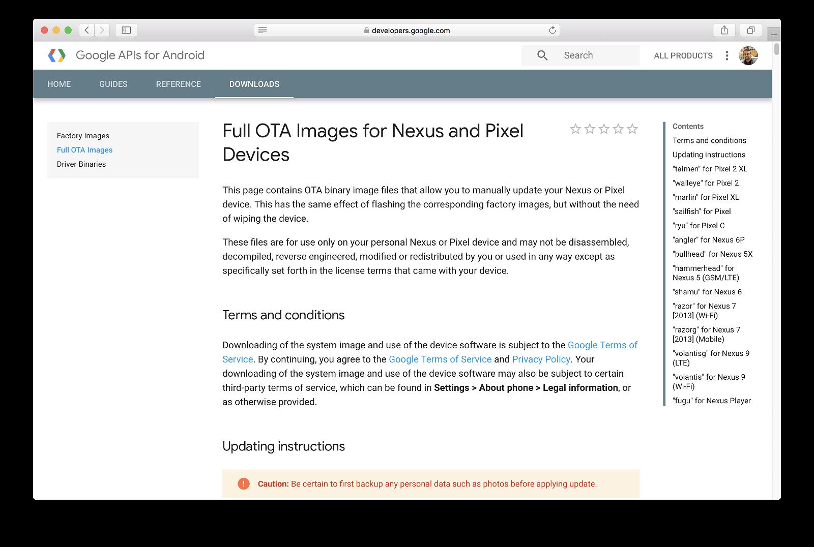 Google Pixel / Nexus Android Factory Images
