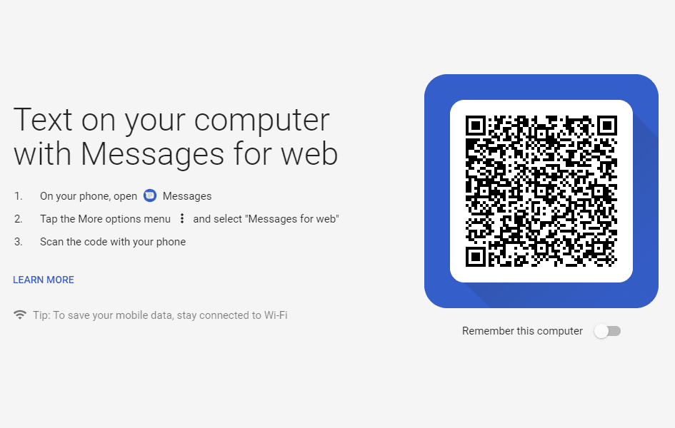 Send Text Messages from Computer with Android Messages for Web 1