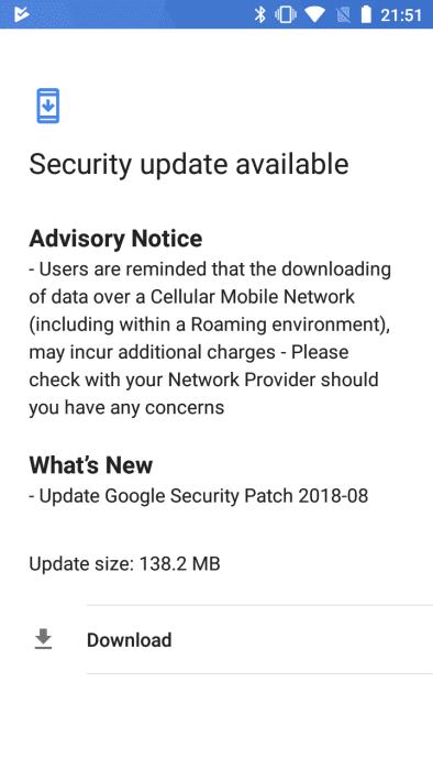 Download Nokia 5 August 2018 OTA System Update