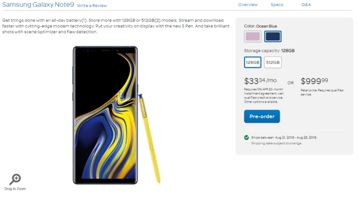 Where to Buy Samsung Galaxy Note 9 in US 2