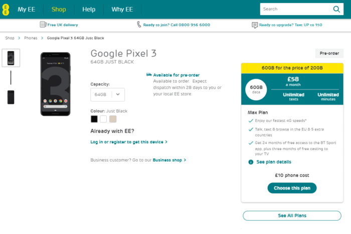 Where to Buy Google Pixel 3 and Pixel 3 XL in UK 12