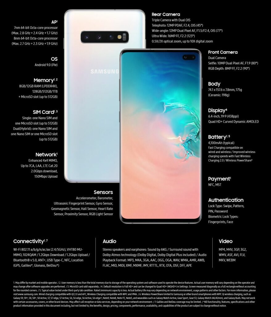 Samsung Galaxy S10+, Technical Specifications