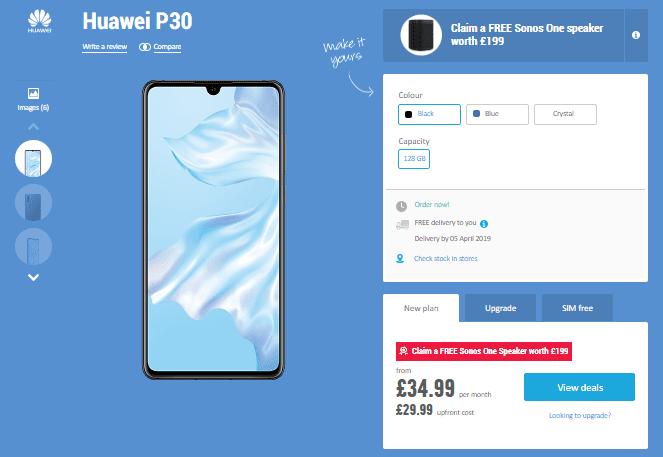 Huawei P30, Carphone Warehouse