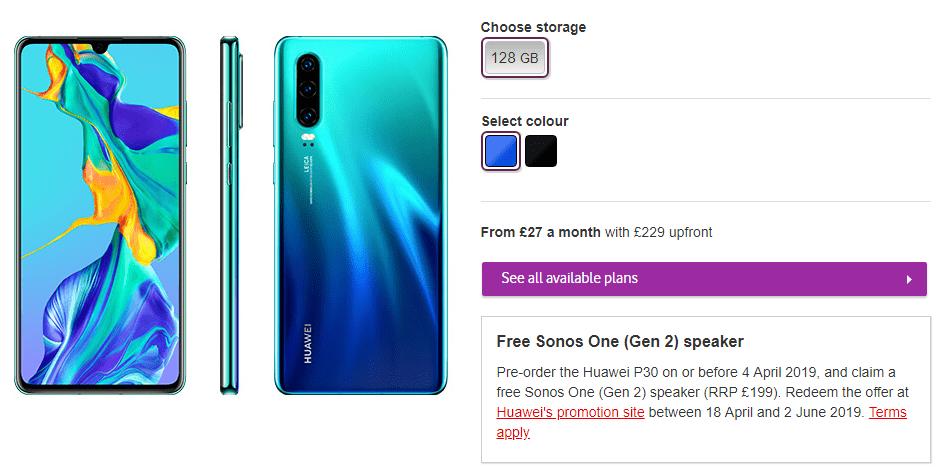 Buy Huawei P30 at Vodafone