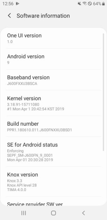 Samsung Galaxy J6 Android 9 Pie Update