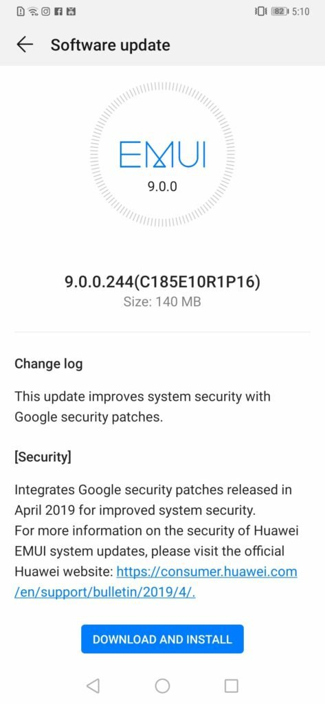 Mate 20 Pro April 2019 Security Update