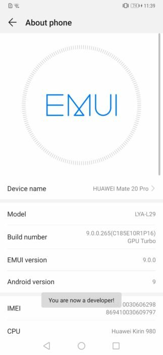 Huawei Mate 20 Pro - EMUI Developer Options