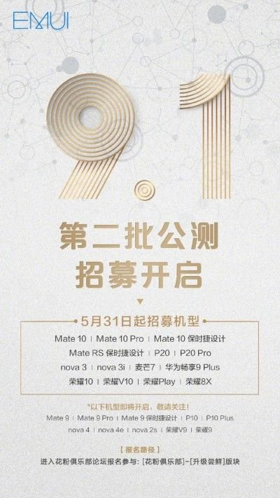 EMUI 9.1 Beta 2 Arriving for 14 New Phones including Huawei Mate 10, P20 2