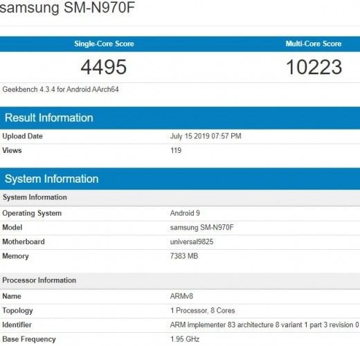 Samsung Galaxy Note 10 Geekbench Benchmark Results Available 7