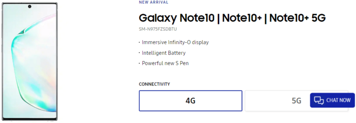 Samsung Galaxy Note 10, UK