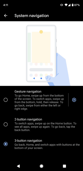 Gesture navigation in Android 10