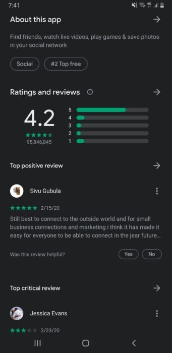 Check reviews on Google Play Store