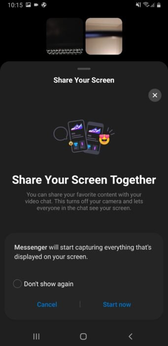How to Share your Screen on Facebook Messenger Mobile 12