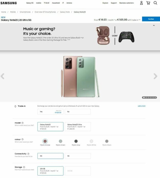 Where to Buy Galaxy Note 20 and Note 20 Ultra in UK, Germany, France 8