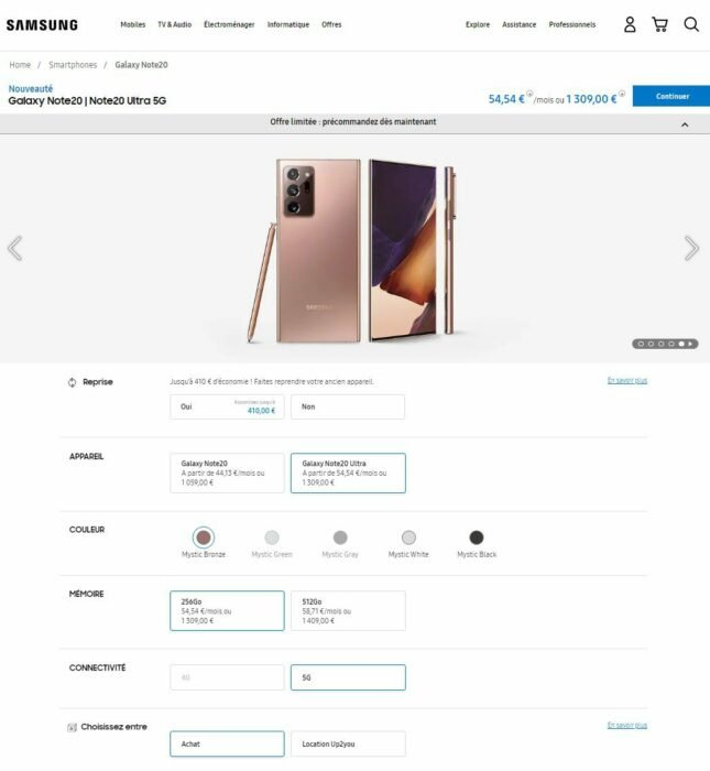 Where to Buy Galaxy Note 20 and Note 20 Ultra in UK, Germany, France 9