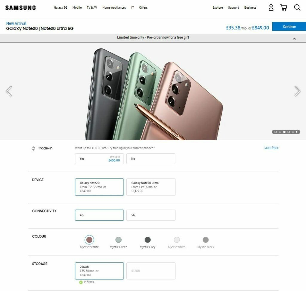 Where to Buy Galaxy Note 20 and Note 20 Ultra in UK, Germany, France 7
